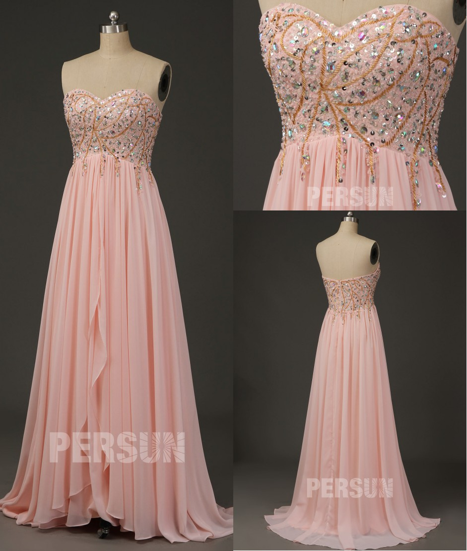 robe longue bustier coeur rose poudré brodé de bijoux pour femme enceinte