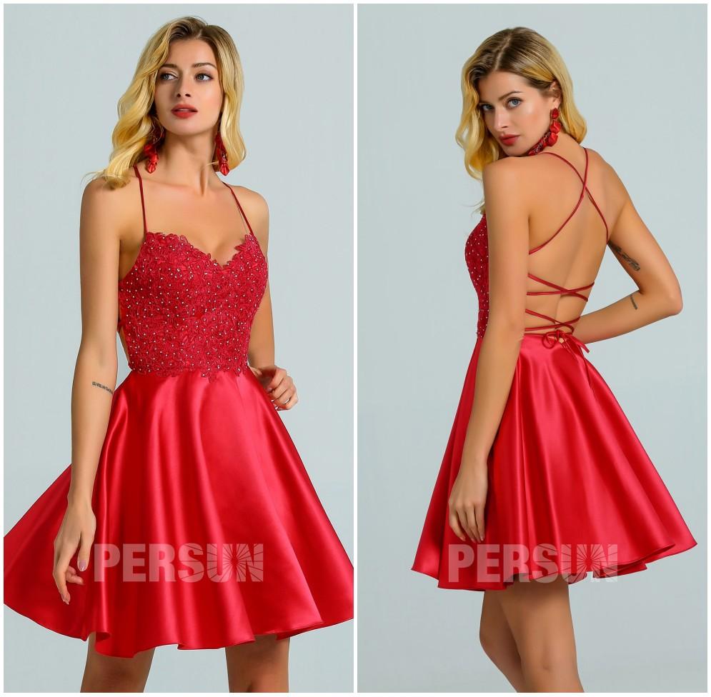 petite robe rouge sexy patineuse haut dentelle dos nu bretelles croisées