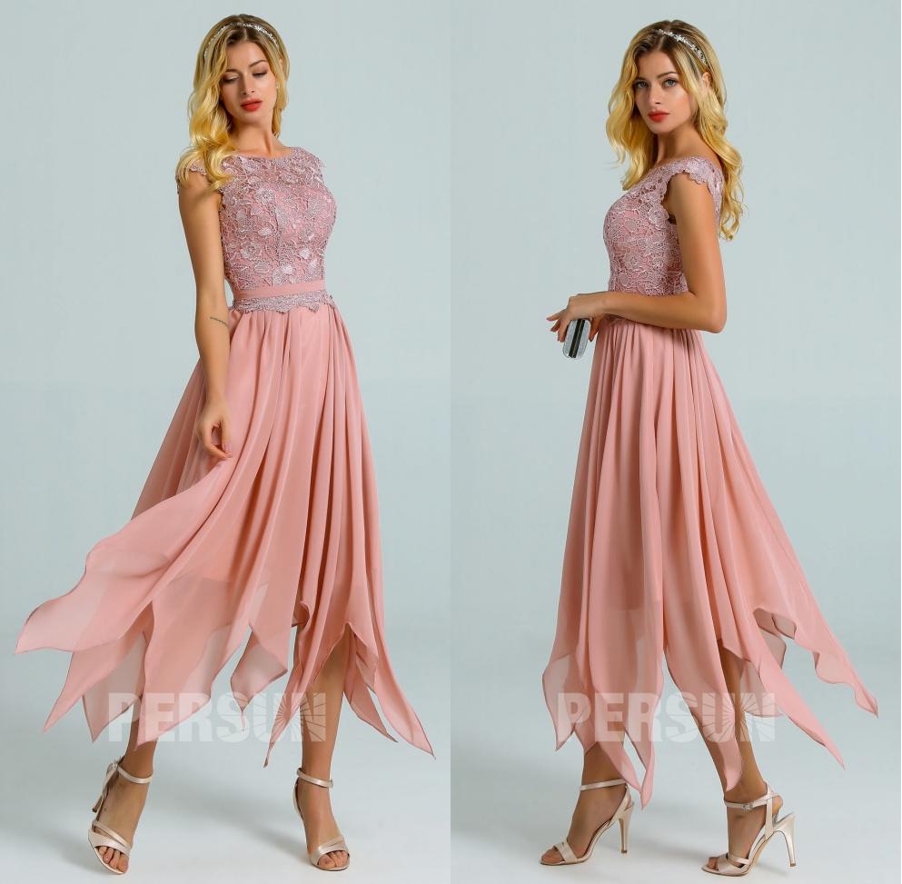 robe cocktail rose chair haut dentelle guipure jupe fantaisie pour invitée de mariage