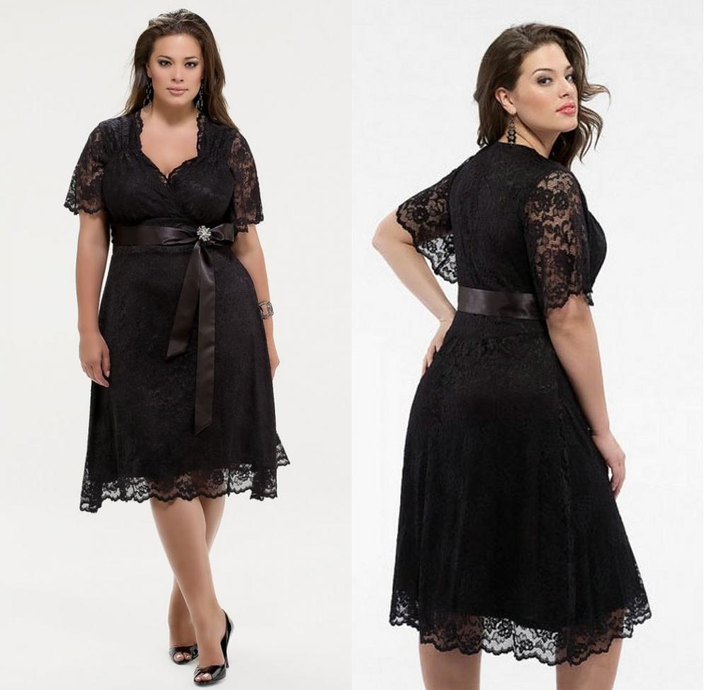 robe cocktail courte grande taille noire dentelle avec manches courtes