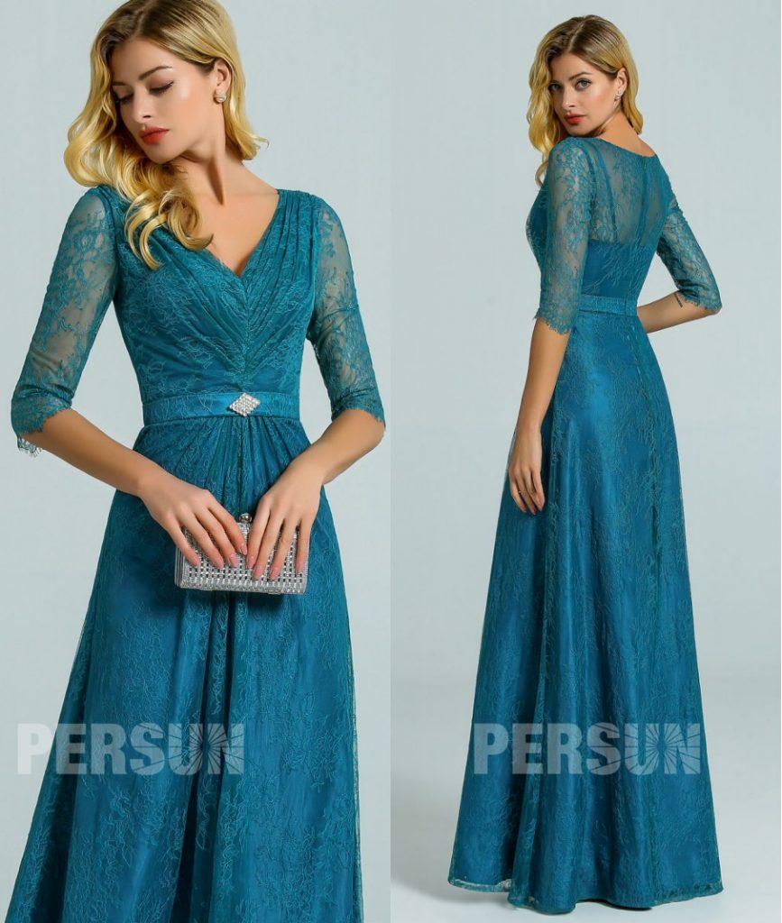 robe longue dentelle vert pin col v pour invitée mariage avec manches