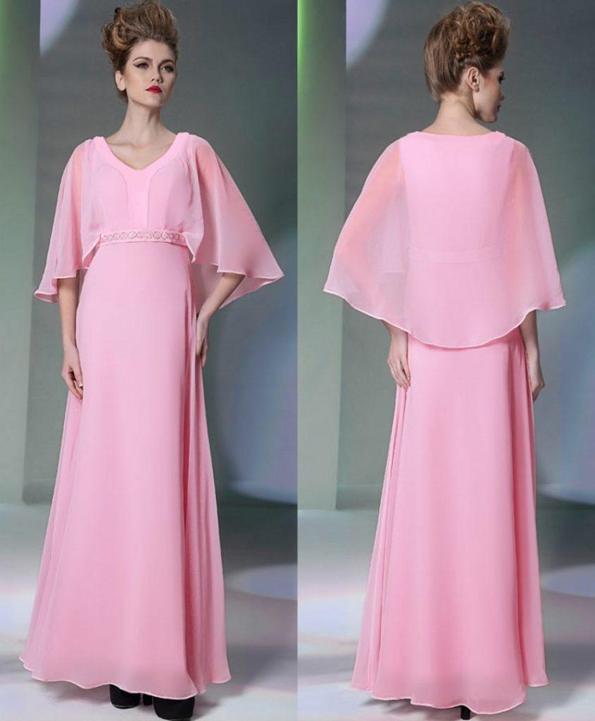 robe de soirée longue rose avec cape pour un mariage