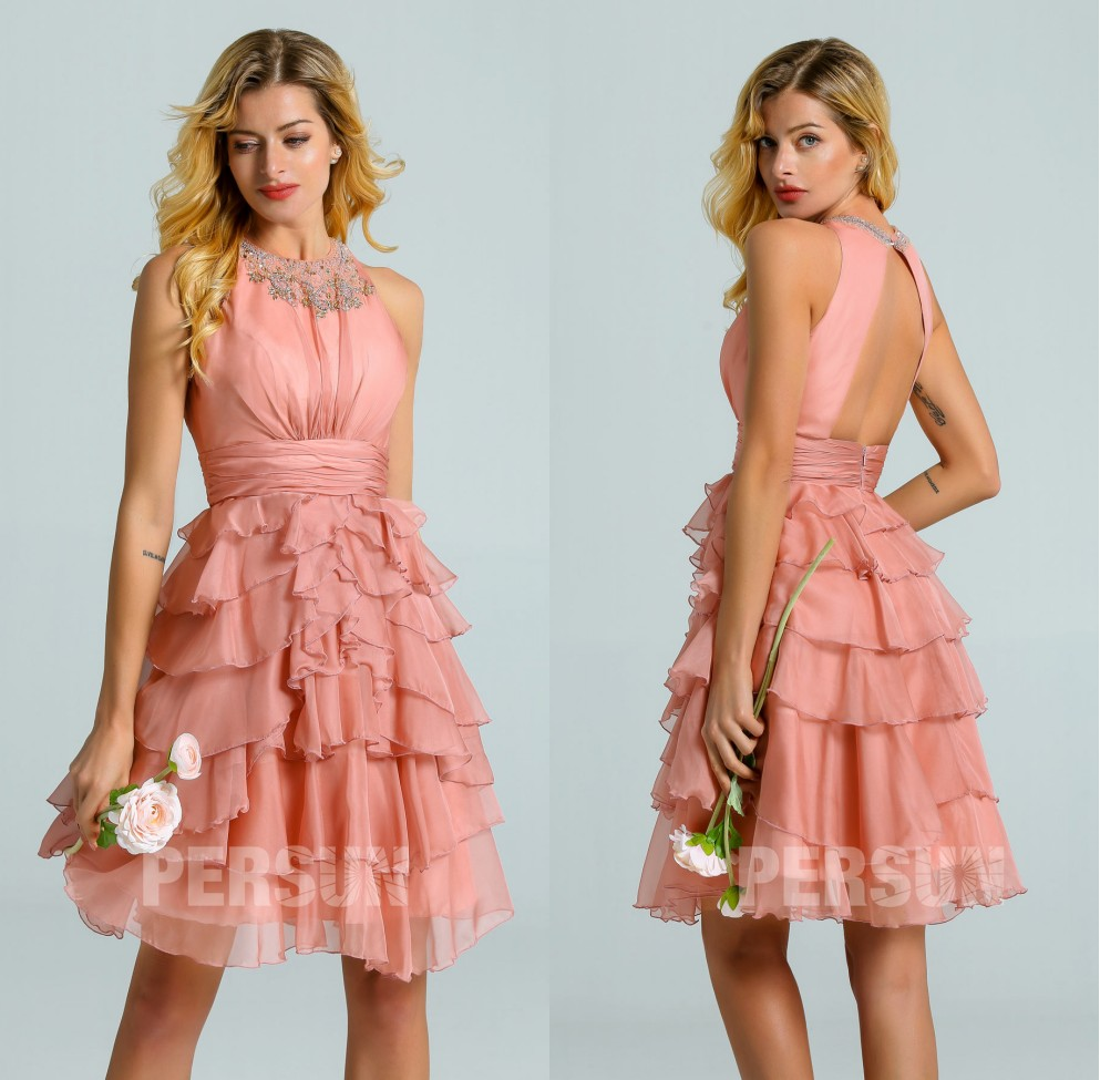 robe bal de promo courte rose saumon à dos ouvert jupe volants