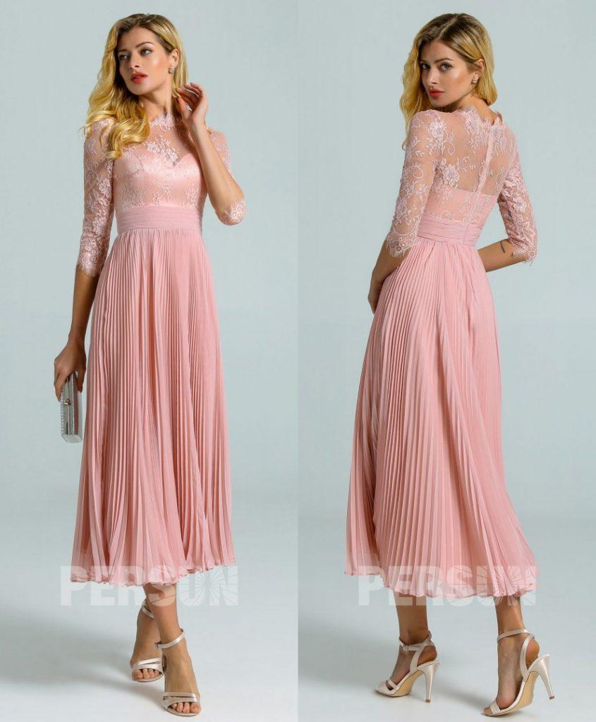robe cocktail midi rose chair haut dentelle avec manches à jupe plissée
