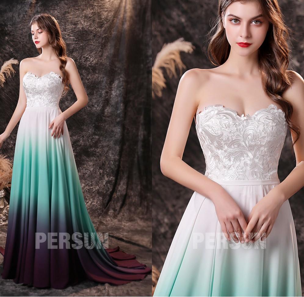 robe soirée bustier coeur dentelle guipure à jupe colorée dégradé