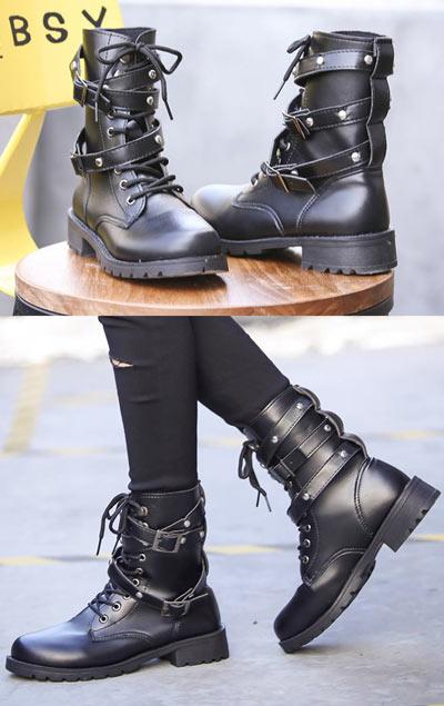 bottines femme motardes noires à lacets plateforme avec rivets
