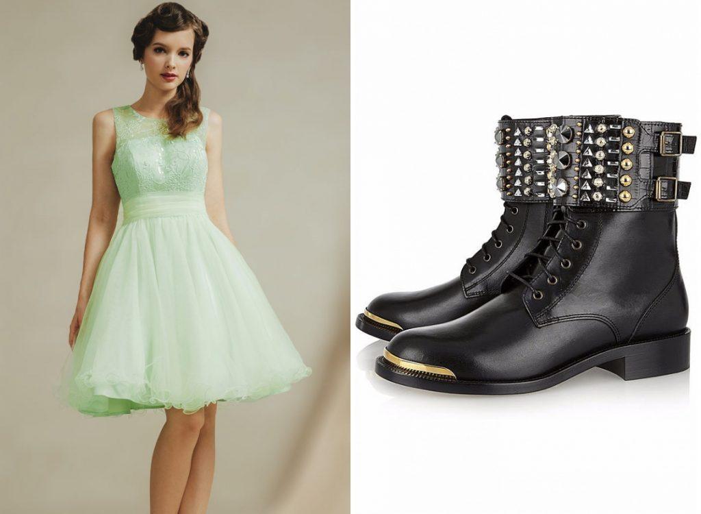 robe bal courte princesse vert menthe et bottine motarde ornée de strass