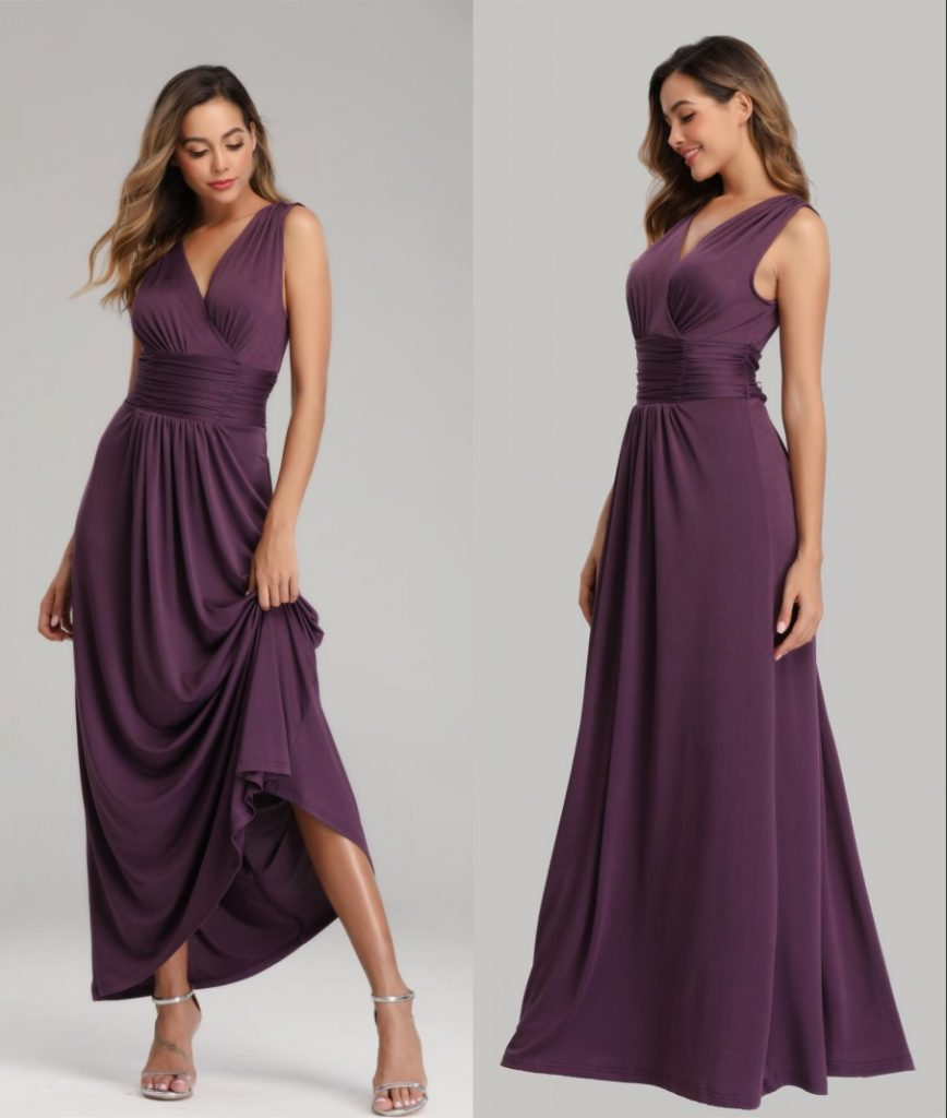 robe longue simple prune à col V