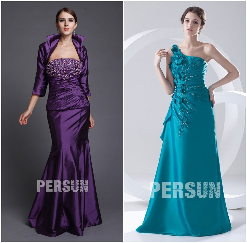 robe cocktail longue en taffetas violette fourreau