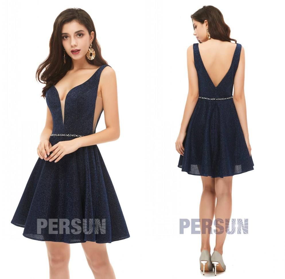 robe courte bal promo bleu marine col v dos échancré