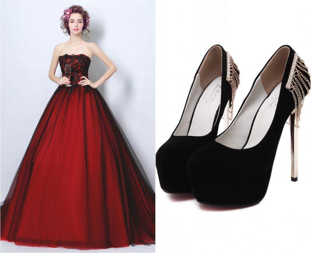 robe de mariée princesse rouge noire bustier en dentelle guipure