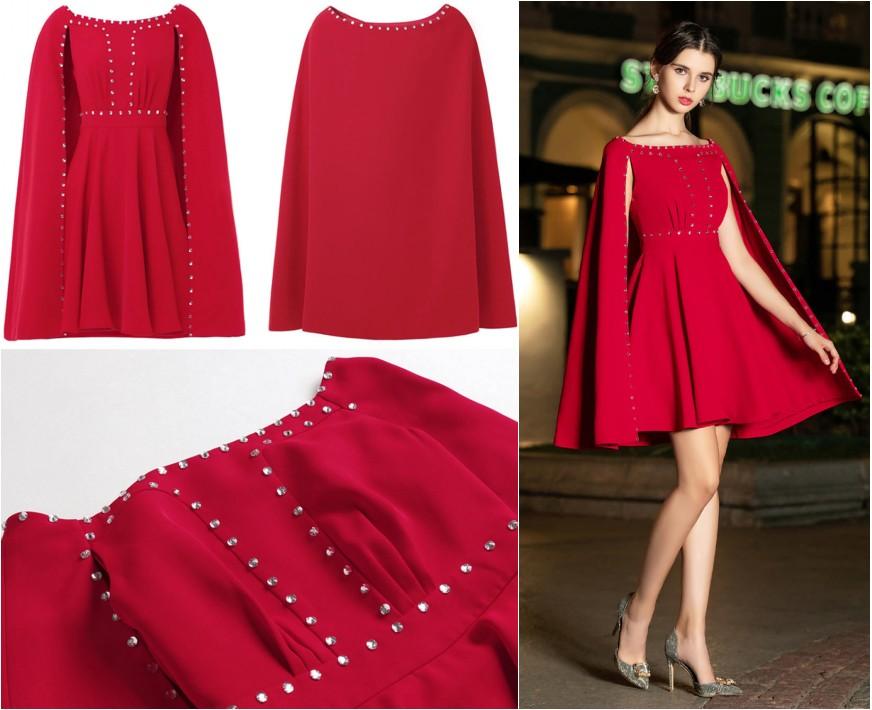 robe de cocktail courte rouge col bateau embelli de strass avec cape