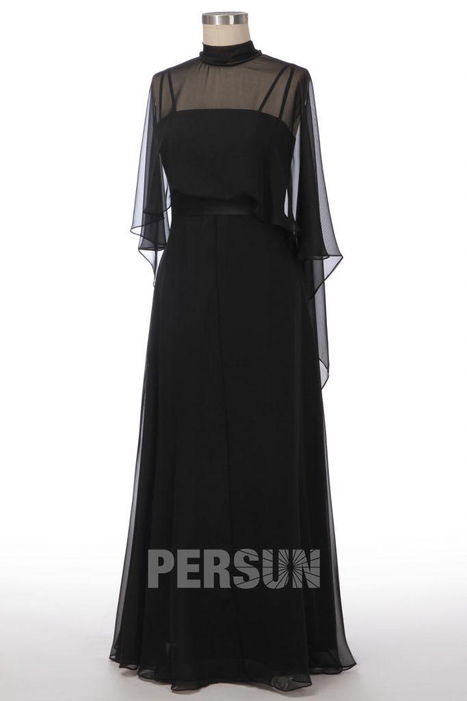 robe de soirée noire simple avec cape
