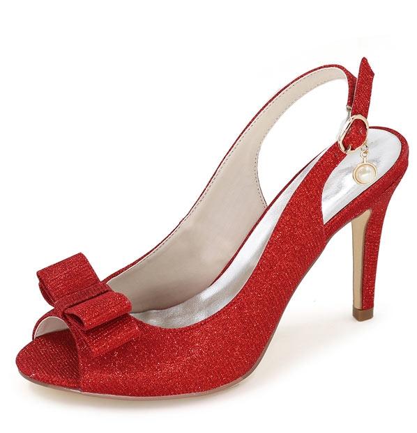 slingback rouge en paillettes talon haut bout ouvert ornée de noeud papillon