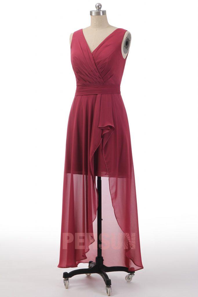 robe de cocktail en moussline décolleté cache-coeur en V